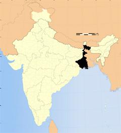 Västbengalen markerat med svart.