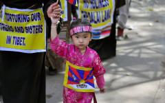 Ung tibetansk demonstrant i Delhi. Foto: © Wilda Nilsson