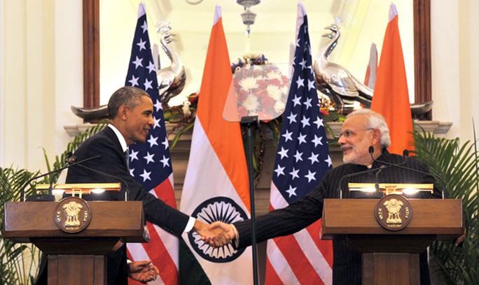 Narendra Modi möter Barack Obama.