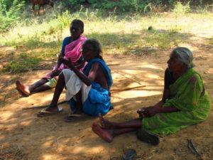 Kvinnor är också involverade i boskapsskötseln men gör inga längre vandringar. Här är tre kvinnor som tagit ut sina får på bete utanför byn Peikulam. Foto; Patrick Wennström