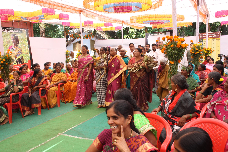 De kvinnliga milletsbönderna som arbetar med DDS finns på plats vid firandet av World Food Day. Foto: Elin Gidlöf.