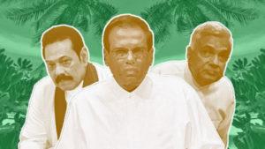 Från vänster; f.d. President Rajapaksha, mitten President Sirisene, höger. Premiärminister Wickramasinghe.