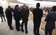 En grupp singalesiska nationalister fanns på plats i FN:s råd för mänskliga rättigheter för att föra fram åsikten att Sri Lankas regeringstrupper inte begick några krigsbrott, att ingen utredning ska göras och att omvärlden inte ska lägga sig i – allra minst FN. Foto: Johan Mikaelsson