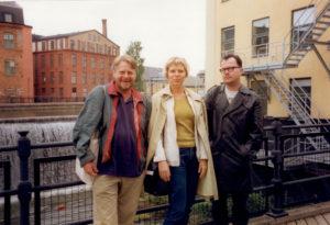 Redaktionsmöte i Norrköping 1998, Lars, Katarina och Zac.