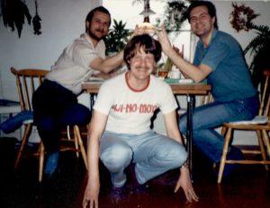 Göteborgsredaktionens planeringsmöte i början av 1980-talet, Thomas, Lars och Stig.