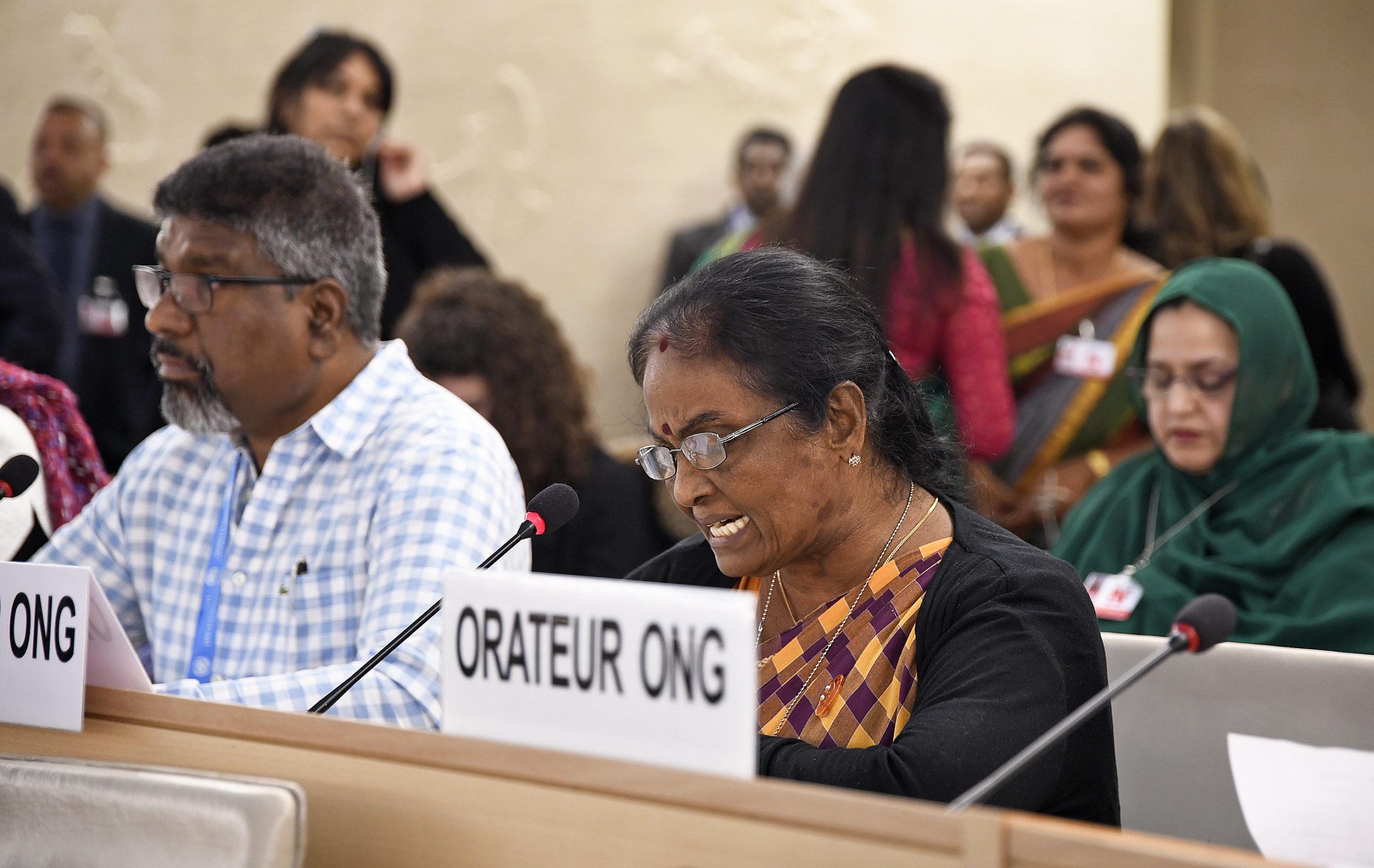 Tamilsk aktivist talar i MR-rådet